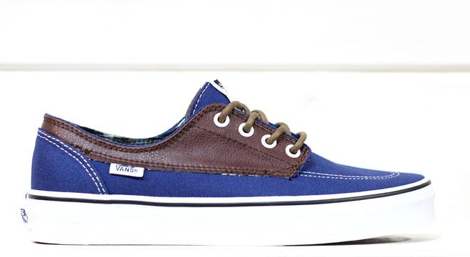 Vans Brigata (Leather/Plaid) Estate Blue / Potting Soil