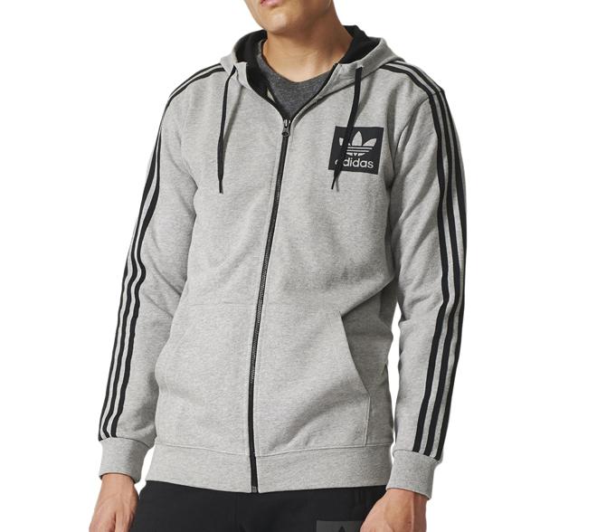 Adidas Street Essentials FZ Hoodie Medium Grey Heather