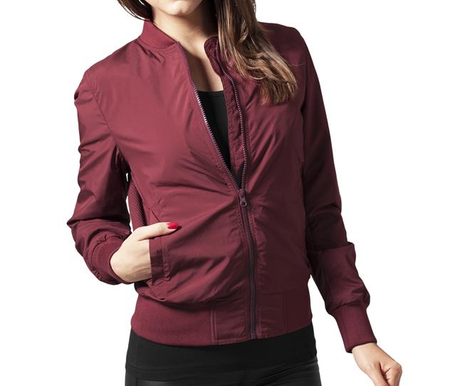 Urban Classics Womens Light Bomber Jacket Burgundy