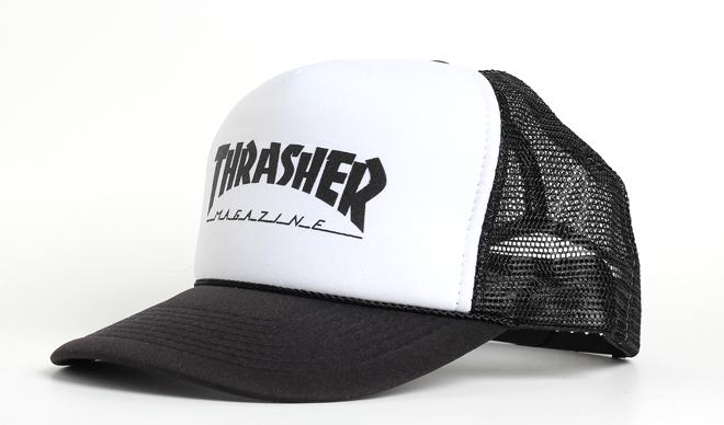 Thrasher Logo Printed Mesh Cap White / Black