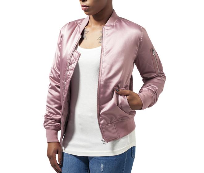 Urban Classics Womens Satin Bomber Jacket Old Rose