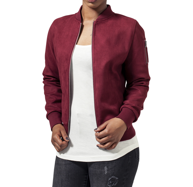 Urban Classics Womens Imitation Suede Bomber Jacket Burgundy