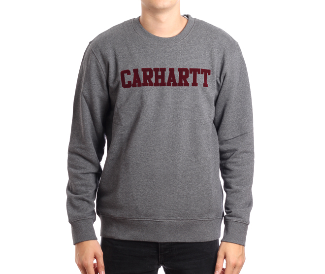 Carhartt WIP College Flock Sweatshirt Dark Grey Heather / Chianti