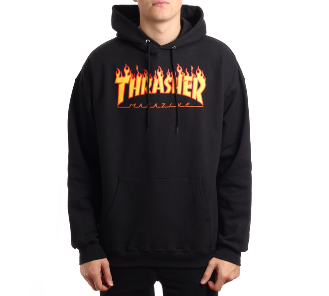 Thrasher Flame Logo Hoodie Black