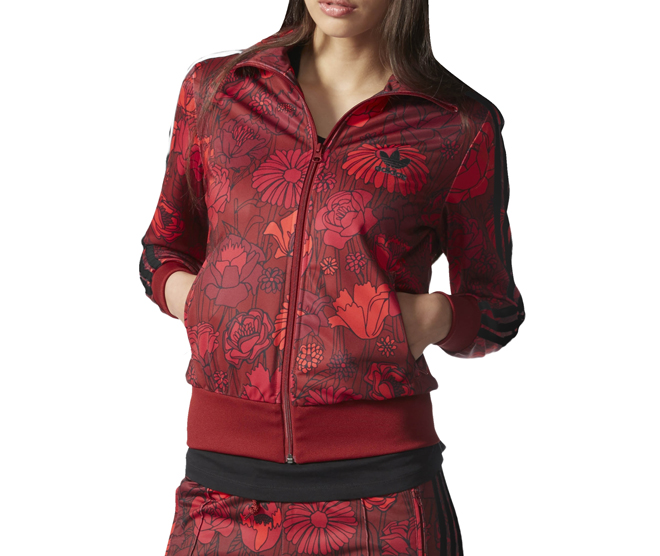 Adidas Womens Firebird Track Jacket Red Floral
