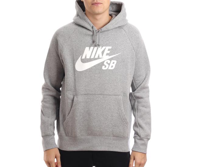 Nike SB Icon Hoodie Dark Grey Heather White Boardvillage