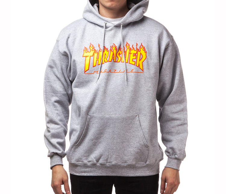 Thrasher Flame Logo Hoodie Grey Heather 49929a6bcd
