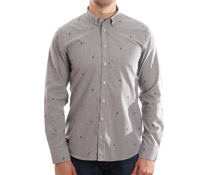 Makia Anchors Shirt Grey