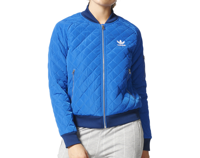 Adidas Womens Quilted Track Jacket Blue