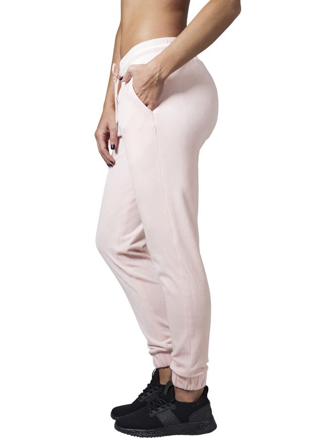 Urban Classics Womens Velvet Pants Light Pink