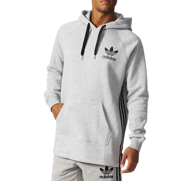Adidas Long Hoodie Medium Grey Heather
