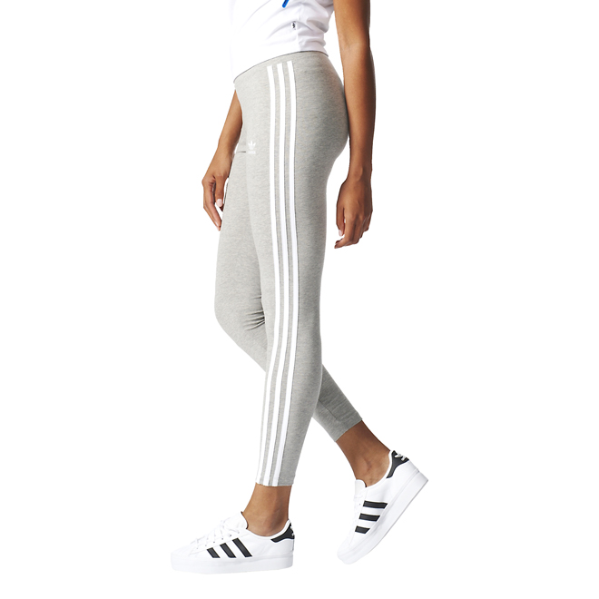 58e3e33cd59b8 Adidas Womens 3 Stripes Leggings Medium Grey Heather ...