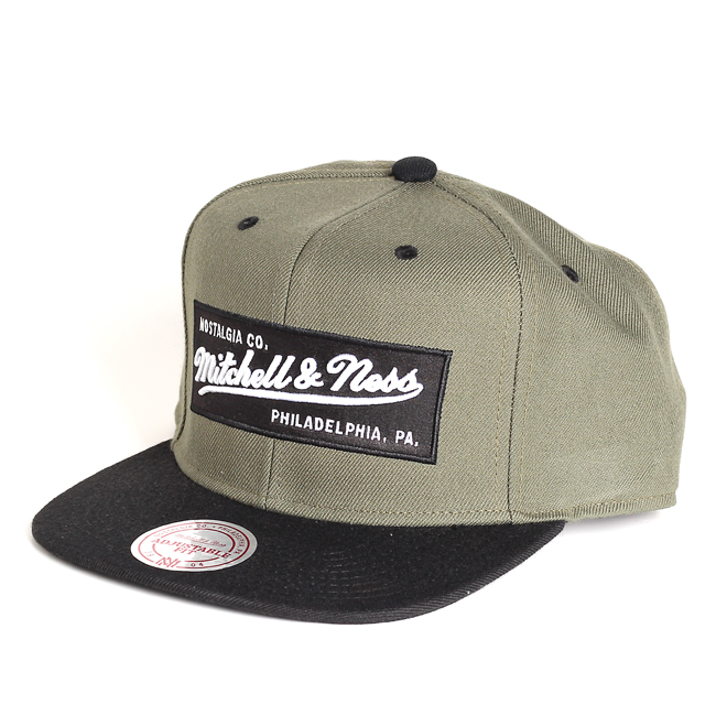 e6e249687dc Mitchell   Ness Box Logo Snapback Olive   Black - Boardvillage