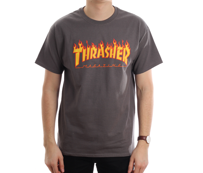 Thrasher Flame Logo Tee Charcoal