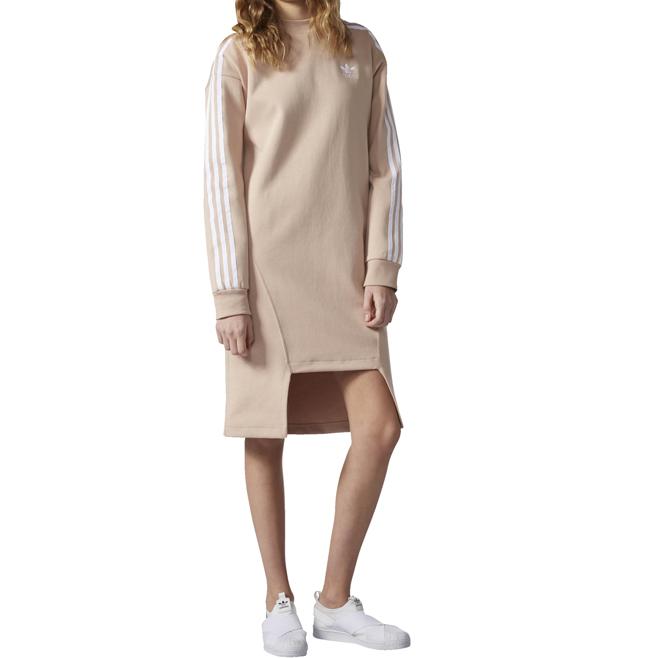 Adidas Womens Info Poster Crew Dress Dust Pearl