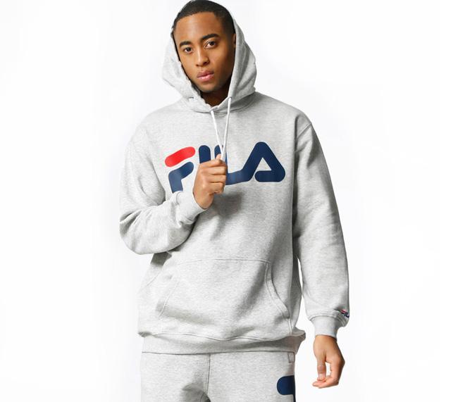 aa94ea99cb92 Fila Classic Logo Hoodie Light Grey Melange - Boardvillage