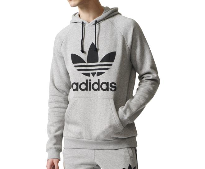 d305a6ce Adidas Originals Trefoil Hoodie Medium Grey Heather - Boardvillage
