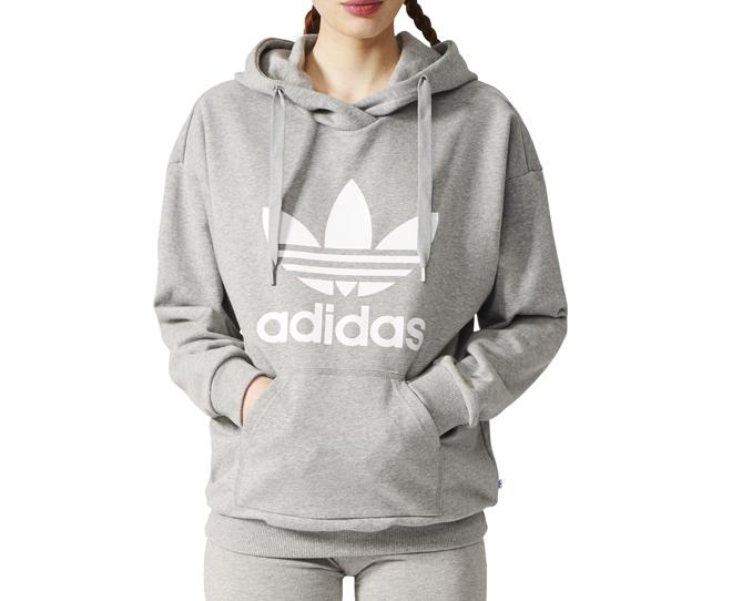 3faa4fb9 Adidas Womens Trefoil Hoodie Medium Grey Heather - Boardvillage