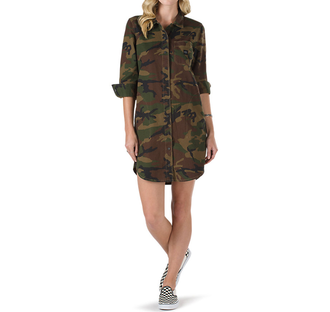 3503c739671 Vans Womens Assembly Shirt Dress Camo - Boardvillage
