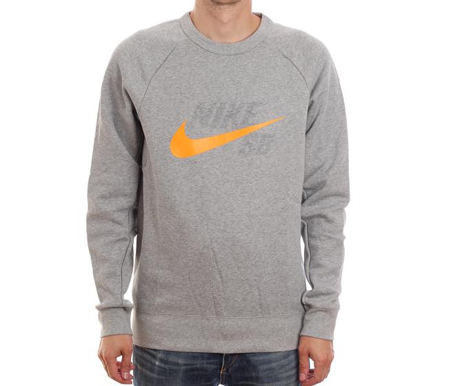 Nike SB Icon Crew GFX Dark Grey Heather Circuit Orange Boardvillage