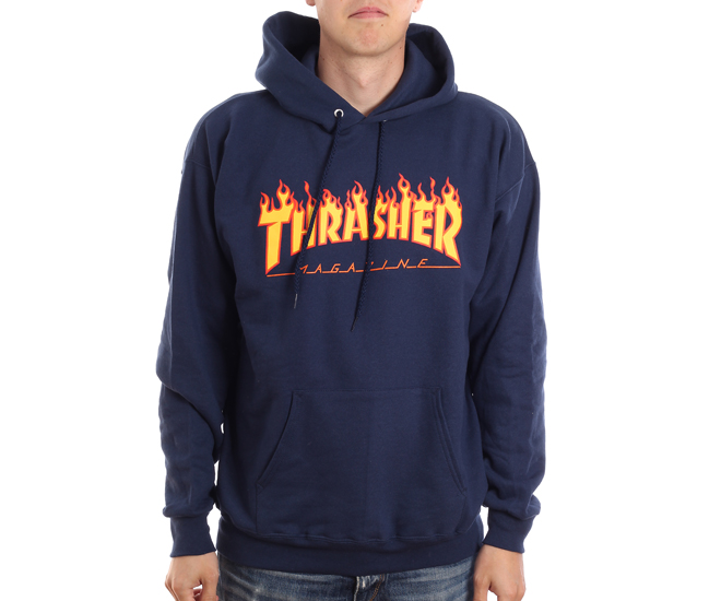 Thrasher Flame Logo Hoodie Navy - Boardvillage e42cd3d960d