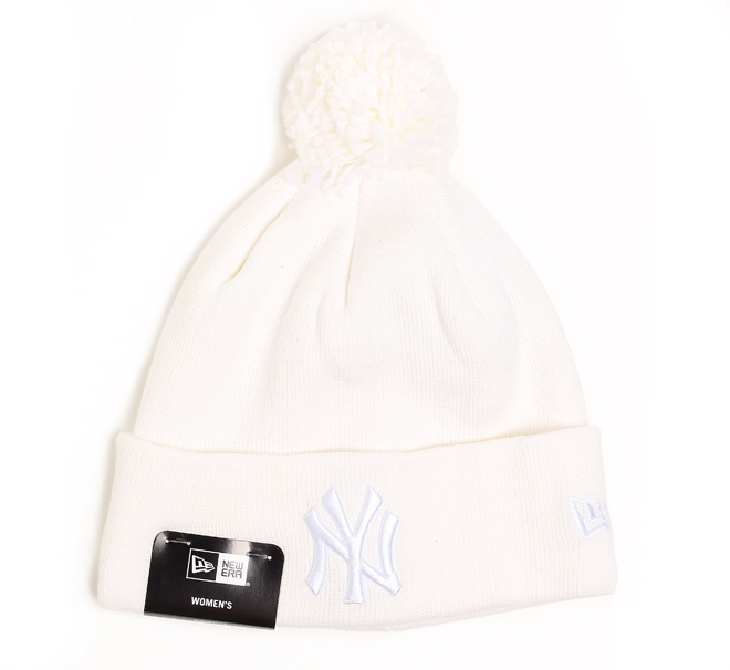 New Era Essential Bobble Knit Yankees White