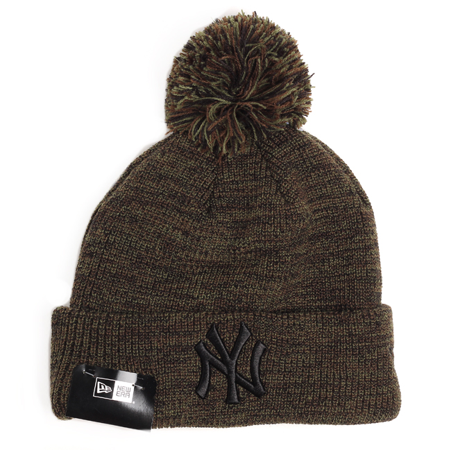 New Era Yankees Marl Bobble Cuff Knit Green