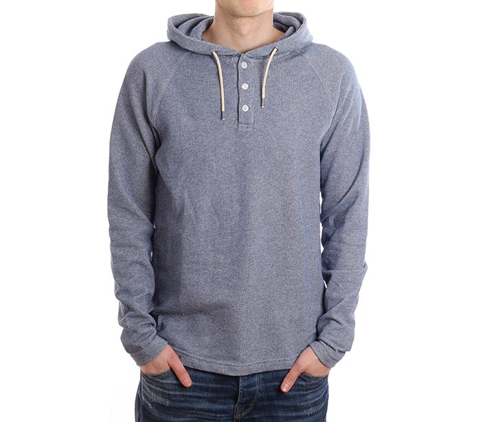 Makia Henley Hooded Sweatshirt Blue