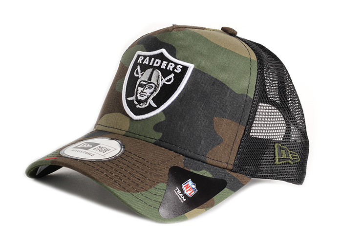 New Era Camo Team A-Frame Trucker Oakland Raiders