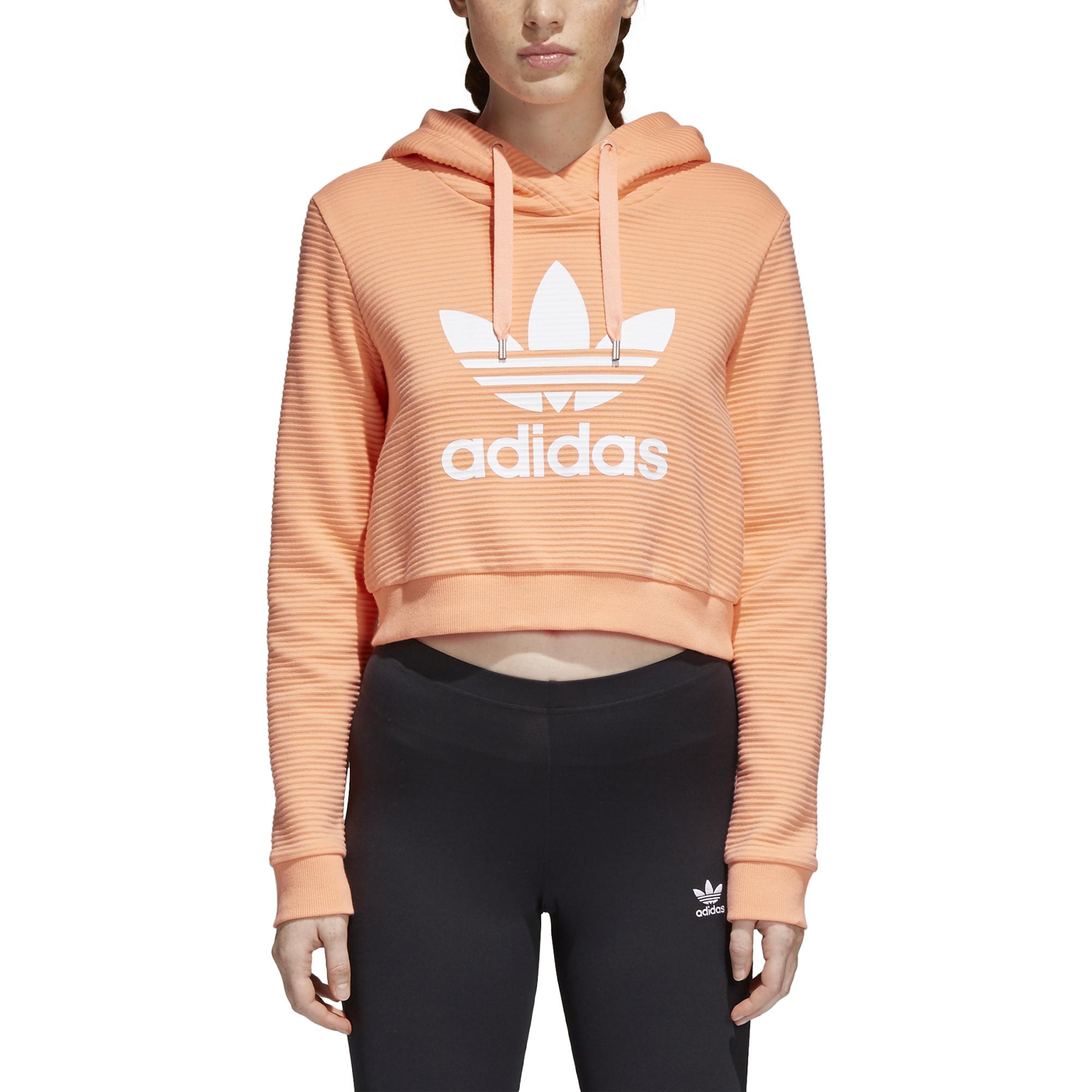 14f4501dbb9a2 Adidas Womens Cropped Trefoil Hoodie Chalk Coral - Boardvillage
