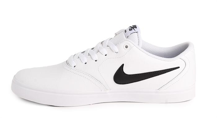 Nike Sb Check Solarsoft Leather White Black Boardvillage
