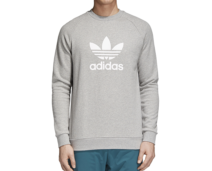 Adidas Trefoil Warm-Up Crew Sweatshirt Medium Grey Heather