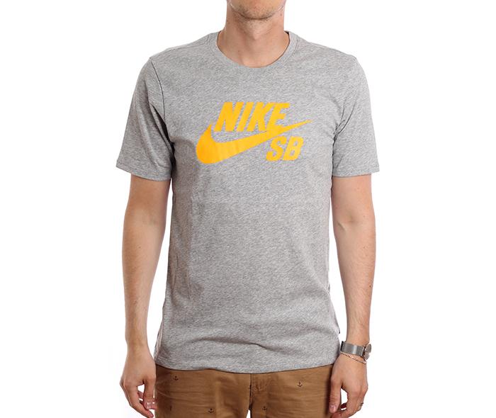 Nike SB Logo Tee Dark Grey Heather / Laser Orange