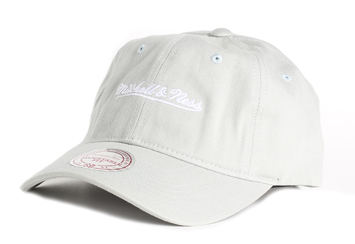 Mitchell & Ness Washed Cotton Dad Hat Silver Cloud