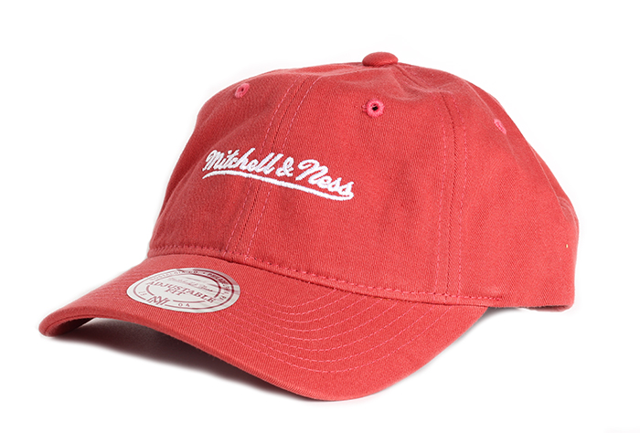 Mitchell & Ness Washed Cotton Dad Hat Crabapple