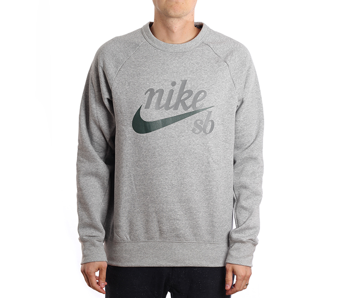 Nike SB Icon Crew GFX Dark Grey Heather / Midnight Green
