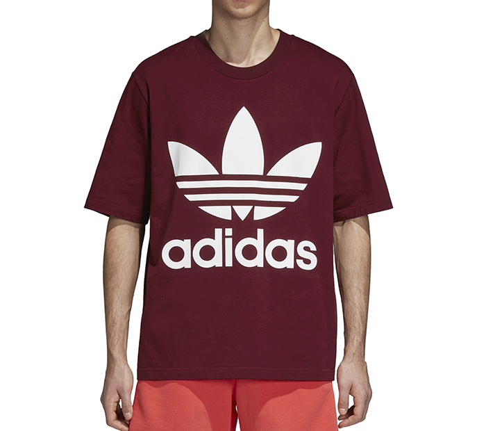 6115c553 Adidas Originals Oversize Trefoil Tee Collegiate Burgundy - Boardvillage