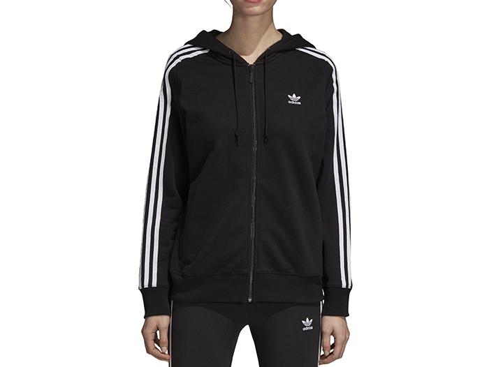 Adidas Womens 3 Stripes Zip Hoodie Black