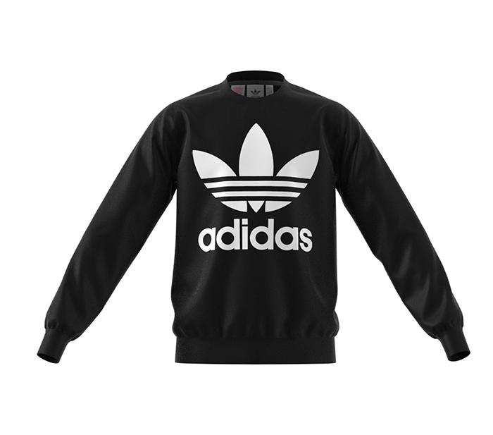Adidas Junior Fleece Crew Sweatshirt Black / White