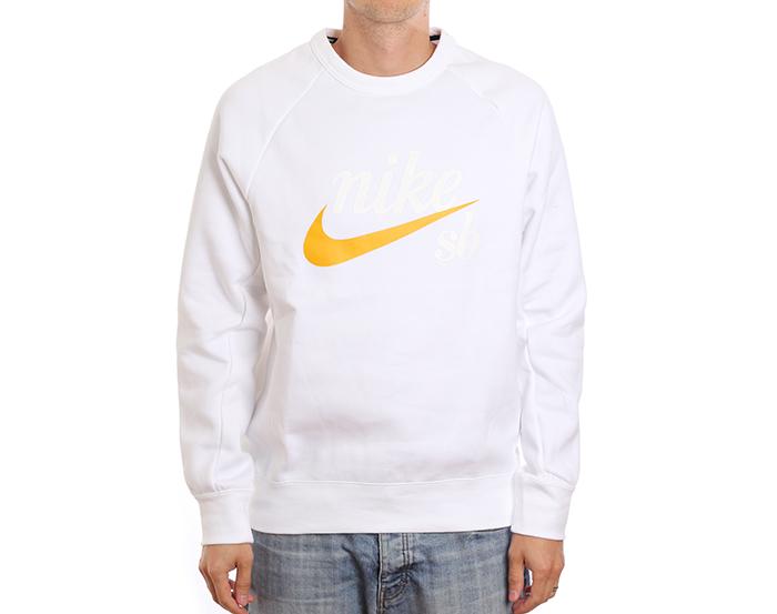 Nike SB Icon Crew GFX White / Yellow Ochre