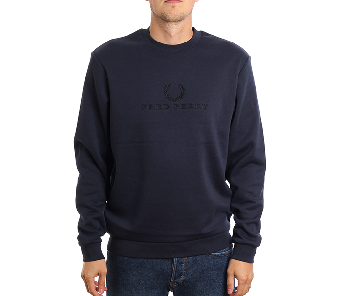 Fred Perry Embroidered Sweatshirt Washed Navy