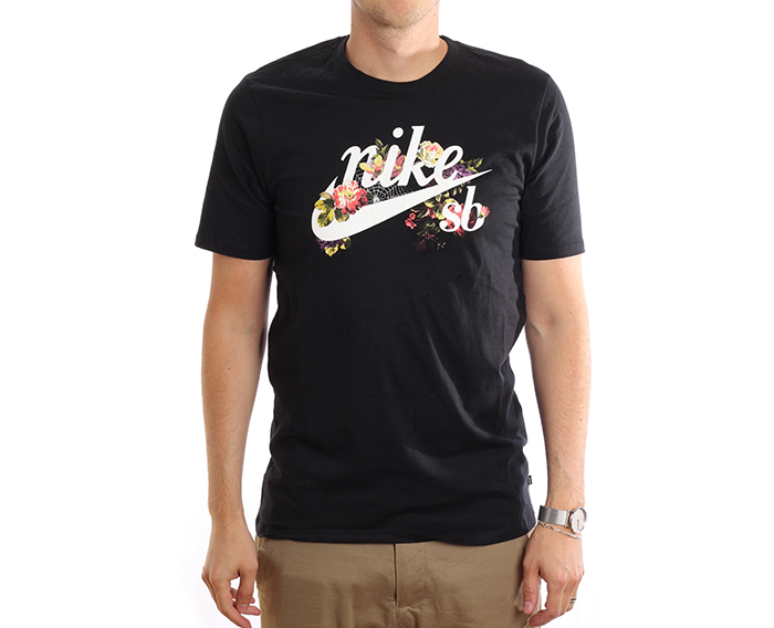 Nike SB Floral Logo Tee Black / White