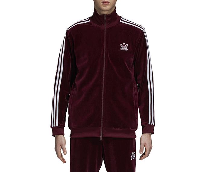 Adidas Velour Beckenbauer Track Jacket Maroon