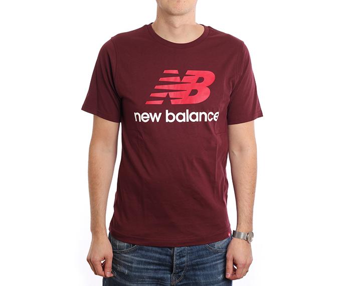 New Balance Essentials Stacked Logo Tee Burgundy