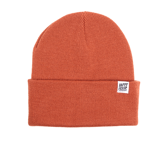 Happy Hour Beanie Orange Rust / White