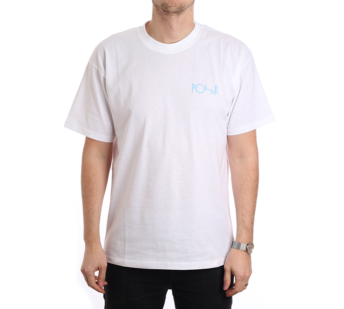 Polar Skate Co. Fill Logo Tee White / Pool Blue