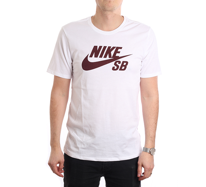 Nike SB Logo Tee White / Burgundy Crush