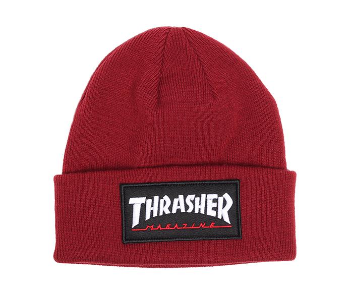 Thrasher Logo Patch Beanie Maroon