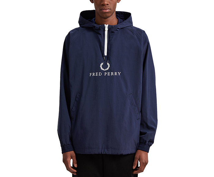 34fae15d0ec9 Fred Perry Embroidered Half Zip Jacket Carbon Blue - Boardvillage