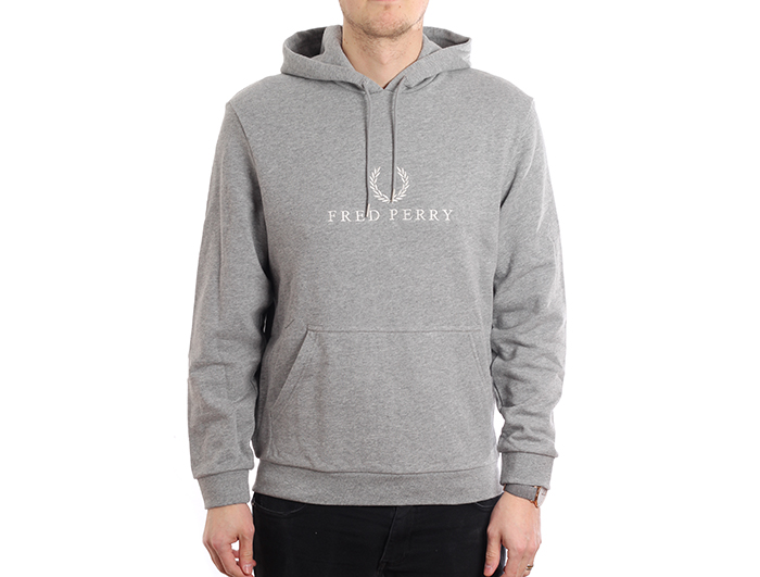 82e7d6ce8 Fred Perry Embroidered Hooded Sweatshirt Steel Marl - Boardvillage